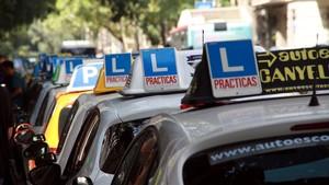 Protesta de autoescuelas en Barcelona