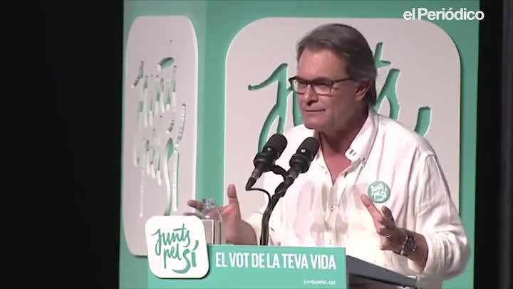 Artur Mas, durante su intervención en un mitin de JxSí, en septiembre del 2015 en LHospitalet de Llobregat, durante la campaña del 27-S.