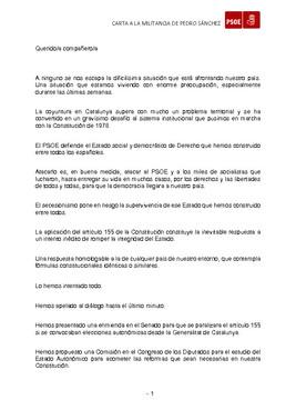 Carta de Sánchez a la militancia socialista