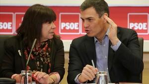Pedro Sánchez en la reunión de la ejecutiva federal del PSOE