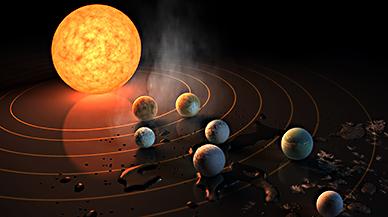 Hallado un sistema solar de siete planetas con un tamaño similar a la Tierra
