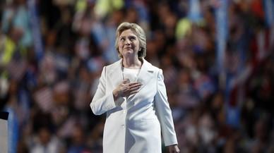 Hillary Clinton, antes de pronunciar su discurso de aceptaci�n de la nominaci�n dem�crata, el jueves en Filadelfia.