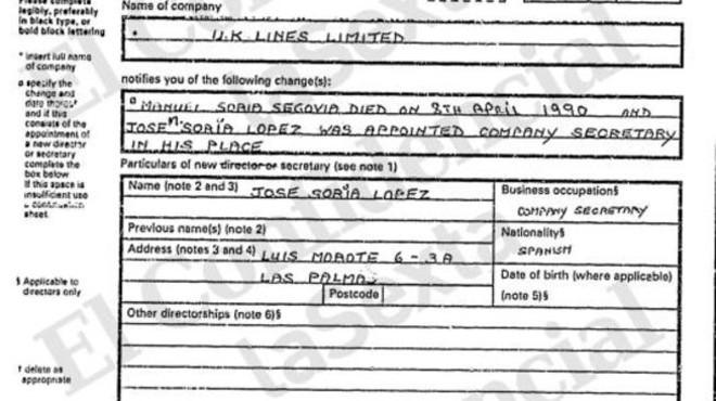 La firma de Soria en un document de UK Lines desmunta la seva tesi que no tenia vincles amb l'empresa