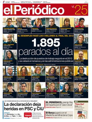 """""""1.895 parados al día"""", en la portada de EL PERIÓDICO DE CATALUNYA"""