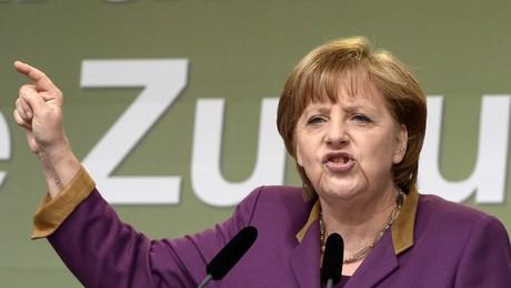 La cancillera Angela Merkel, el miércoles, durante un acto electoral de la CDU, en Flensburg.