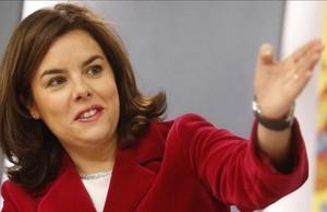 Soraya Saenz de Santamaria en la rueda de prensa posterior al Consejo de Ministros