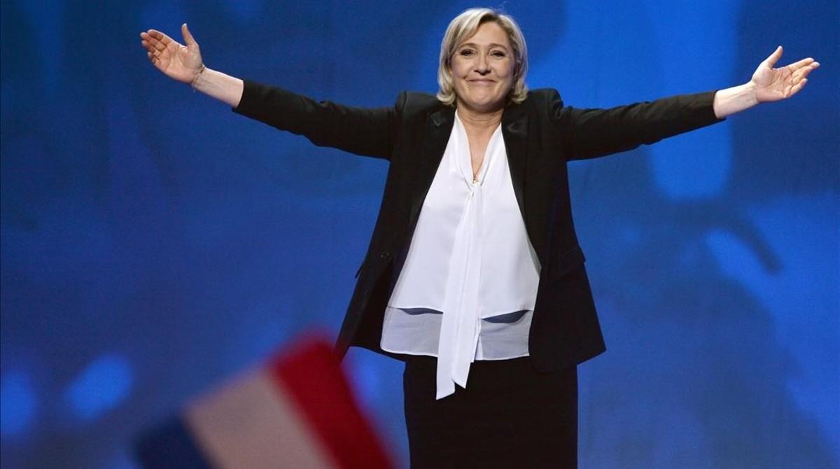 Marine Le Pen, en el mitin de Nantes