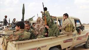 combatientes hutis del Yemen