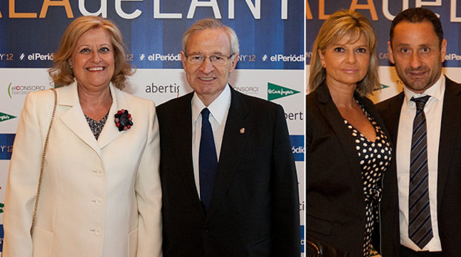 A la izquierda, el presidente de la Cámara de Comercio de Barcelona Miquel Valls y su esposa Ana Durán. Al lado, el empresario Enrique Tomás, con su acompañante.