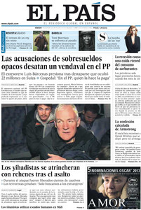 El PP se debate entre tapar los sobresueldos de B�rcenas o investigarlos, titula 'El Mundo'