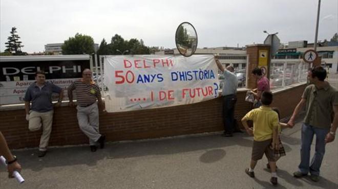 Protesta de trabajadores de Delphi en junio del 2009.