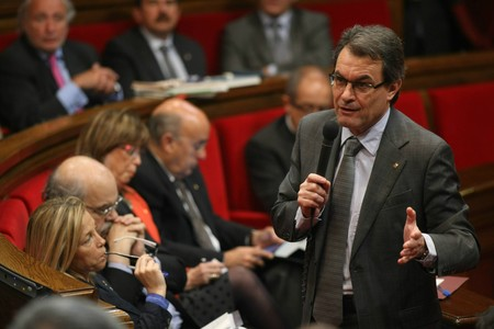 El 'president', Artur Mas, este mircoles, en el pleno del Parlament. 