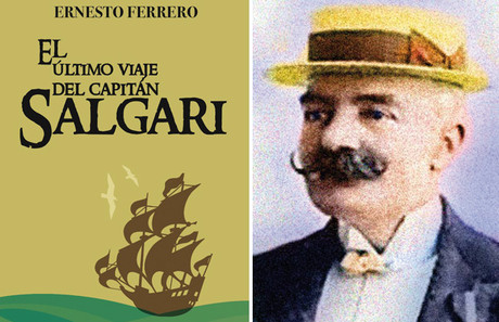 Portada del libro 'El ltimo viaje del capitn Salgari' (tico de los Libros), de Ernesto Ferrero, y retrato del Emilio Salgari.