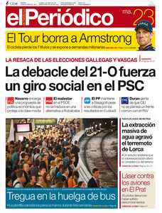 La portada de EL PERIDICO (23-10-2012).