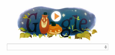Imagen del doodle del buscador, con una calabaza de Halloween.