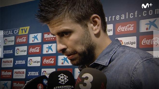 Los gestos de Piqué a Tebas (en el Palco) al final del Vilareal-Barça