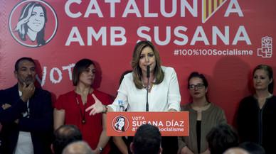 """Susana Díaz asegura en Catalunya que no entrará en la """"subasta de sentimientos"""""""