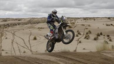Marc Solácon su Yamaha durante la séptima etapa del Rally Dakar.