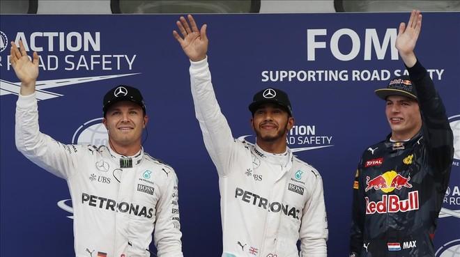 Rosberg, Hamilton y Verstappen, hoy en Sepang.