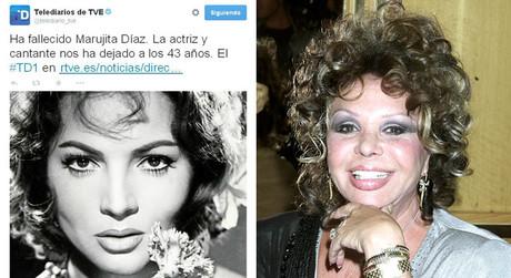 A la izquierda, el tuit errónero del Telediario y, a la derecha, una foto de Marujita Díaz.