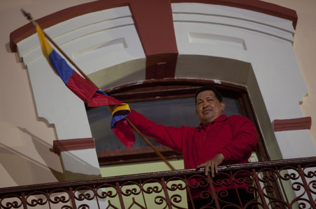 Hugo Chvez, en el balcn del palacio de Miraflores, en Caracas.