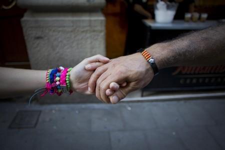 Ensayo de la cadena humana en el barrio de Gràcia previa a la Diada