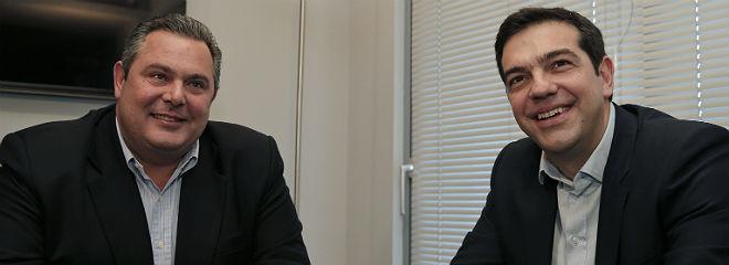 Alexis Tsipras, derecha, con Panos Kammenos, l�der de Griegos Independientes, esta ma�ana.
