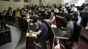 Exámenes en la universidad Pompeu Pabra.