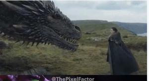 Jon Nieve, con uno de los dragones de Daenerys, en Juego de tronos