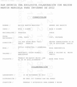 Contrato de colaboracin de H&amp;amp;M con Martin Margiela.