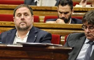 Junqueras y Puigdemont al Parlament