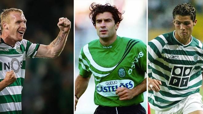 Mathieu, Figo y Cristiano Ronaldo, con la camiseta del Sporting de Portugal.
