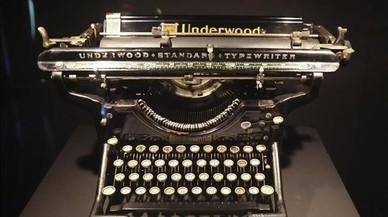 Una de las piezas de la exposicion audiovisual sobre m�quinas de escribir del Museu Nacional de la T�cnica i la Ci�ncia de Terrassa.