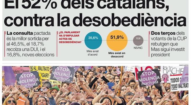 """""""El 52% dels catalans, contra la desobediència"""", a la portada d'EL PERIÓDICO DE CATALUNYA"""