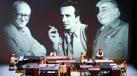 Moment de l'espectacle homenatge a Pere Calders, Joan Sales i Tísner, ahir al TNC.
