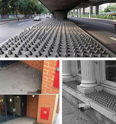Imagen de varios lugares en Londres donde se han instalado pinchos anti-indigentes.