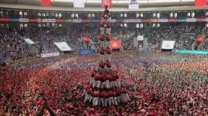 Quatre de deu amb folre i manilles de la Colla Vella de Valls.