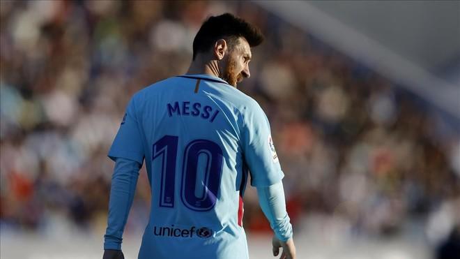 Messi, en un momento del partido contra el Leganés.