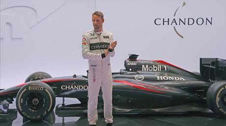 Jenson Button, durante la presentaci�n de la temporada 2015 de McLaren
