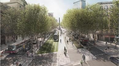 Imagen virtual de la opción 1 de tranvía en superficie por la Diagonal junto al carril bici.