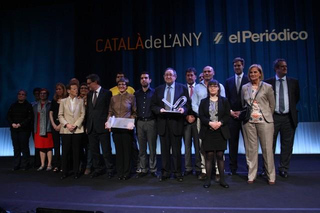 Sánchez de Toledo, la finalista a Català de l'Any Anna Vives y los ganadores de los premios solidario y empresarial, con el 'president' Artur Mas, Antonio Asensio Mosbah y Núria de Gispert.