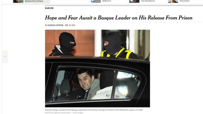 "Otegi a 'The New York Times': ""Vull ser el candidat de Bildu a 'lehendakari"""