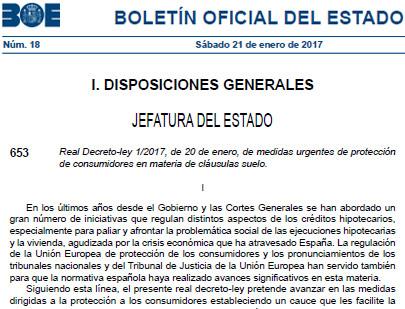 Texto íntegro definitivo del real decreto sobre las cláusulas suelo