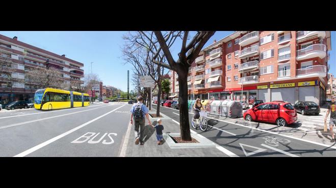 Carril bus y vial ciclista, en una imagen virtual de la futura C-245.