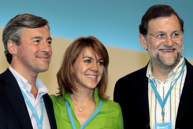 Acebes con Rajoy y Cospedal, en el congreso del PP en Valencia en el 2008. Kai Försterling | EFE