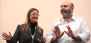 Lombardi y Crimi, portavoces del M5S en el Congreso y el Senado, respectivamente, este lunes en Roma.