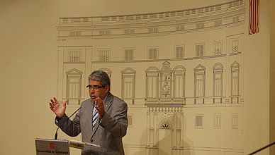 Francesc Homs, durante su intervenci�n ante los medios para dar a conocer el dictamen del Consell de Garanties Estatut�ries.