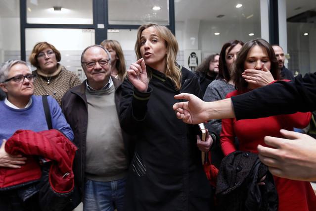 Tania Sánchez llega a la rueda de prensa para explicar su salida de IU en Madrid, este jueves.