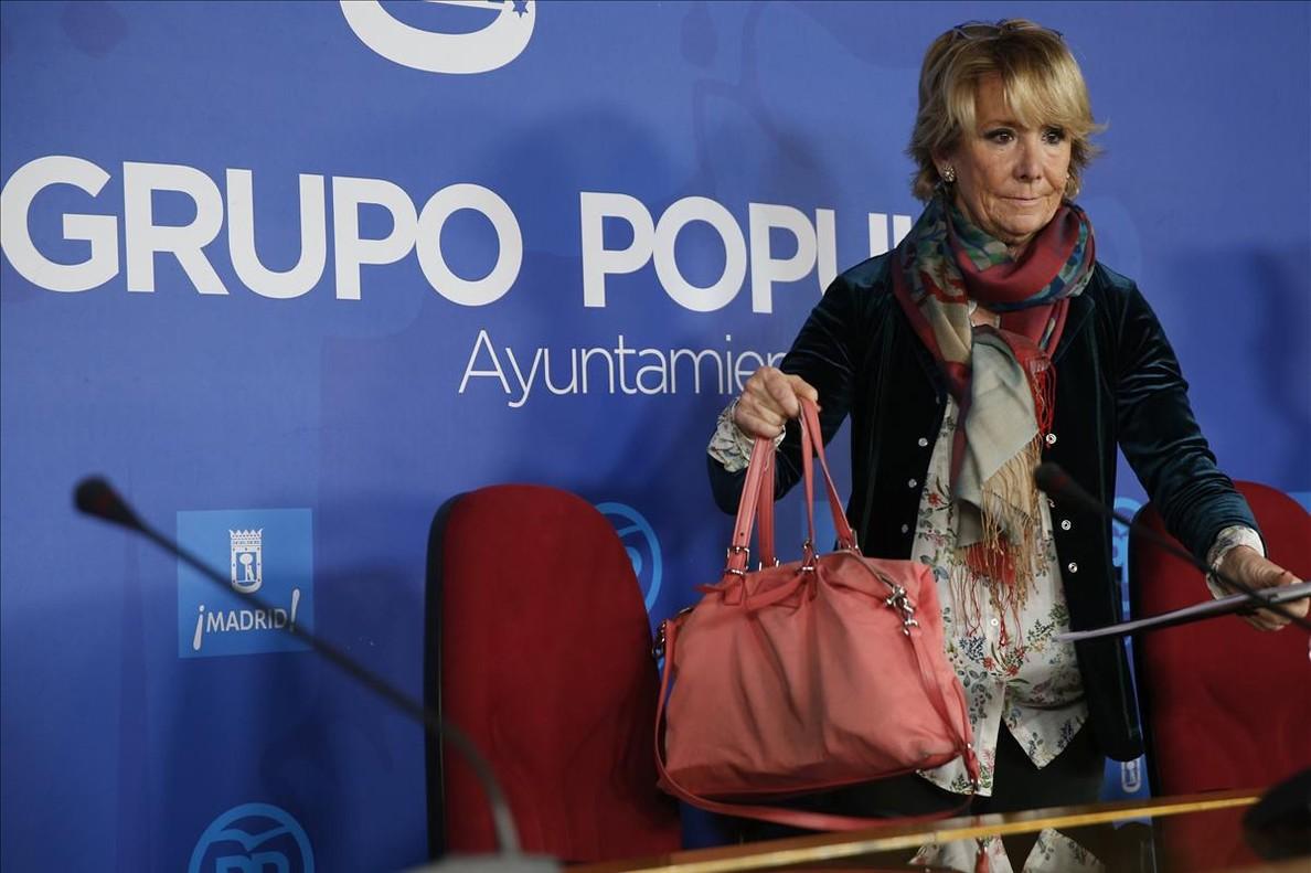 La ahora concejala Esperanza Aguirre, tras dimitir recientemente como presidenta del PP de Madrid.