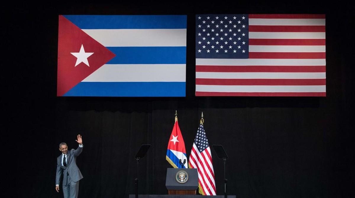 Obama, tras su discurso en el teatro Alicia Alonso de La Habana.